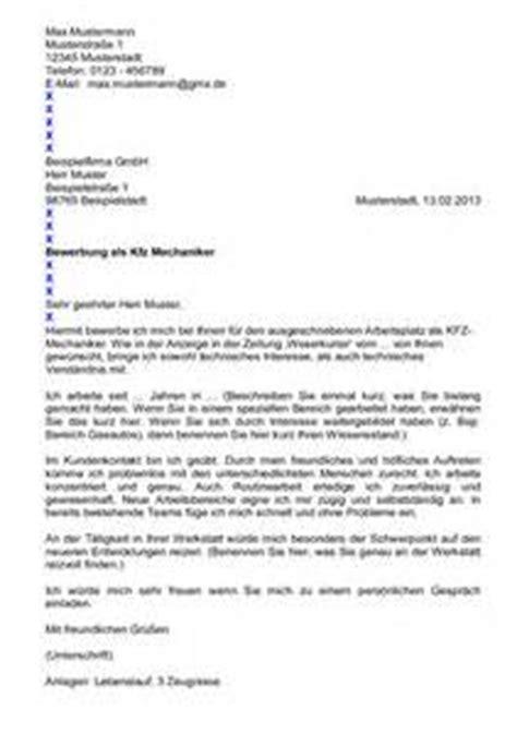 Bewerbungsschreiben Ausbildung Als Kfz Mechatroniker Bewerbungsschreiben F 252 R Kfz Mechatroniker Gerserc