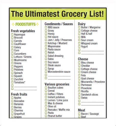 simple grocery list template 9 grocery list template sle templates