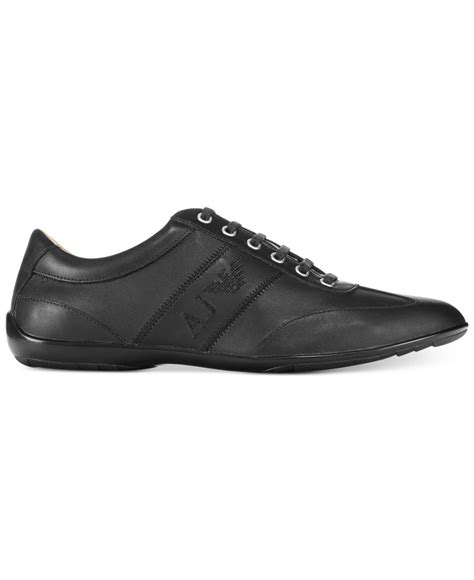 low profile sneakers armani low profile leather sneakers in black for