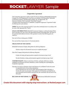 Business Cooperation Agreement Template cooperation agreement template for business with sample