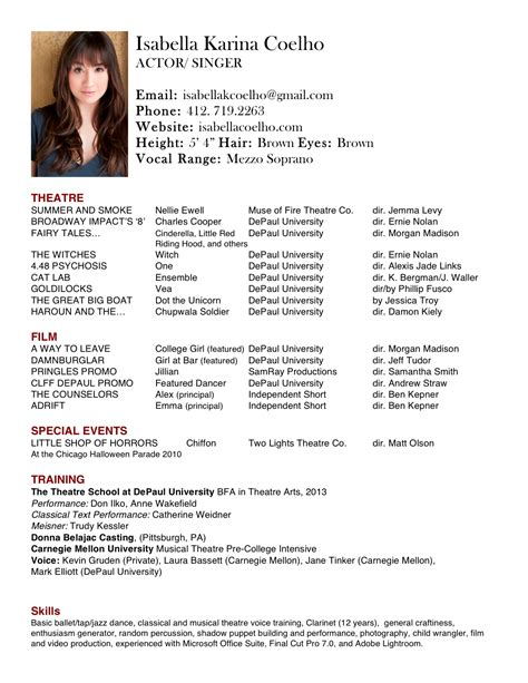 theatre resume templates acting resume exle