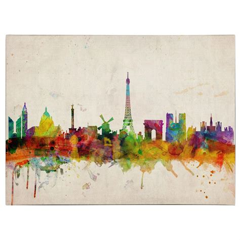 wall paintings michael tompsett quot paris skyline quot canvas art 311013 wall