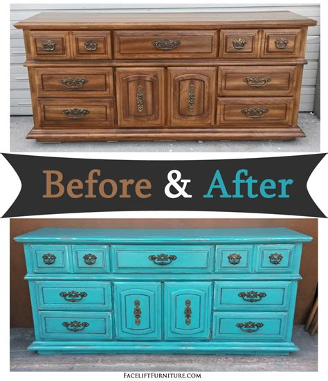 diy chalk paint nz dresser in distressed turquoise black glaze before