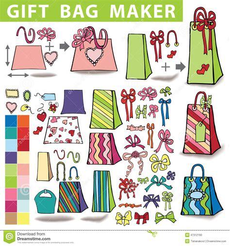 doodle maker edit gift bags maker colorful doodle set stock vector image