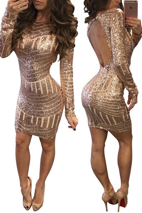Slim Dress Chagne Sequin Size S M L Anggun Manis 43366 luxury sequin dress backless gold mini dresses new 2017 sleeve slim bodycon