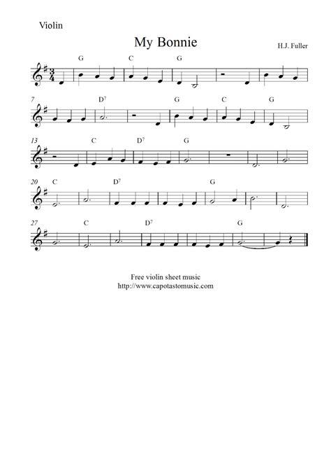 printable violin sheet music free violin sheet music my bonnie
