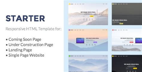 Starter Under Construction Coming Soon Landing Page Single Page Website Html Template Coming Soon Landing Page Template