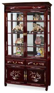 Japanese Curio Cabinets 40in Rosewood Of Pearl Inlaid Curio Cabinet Asian
