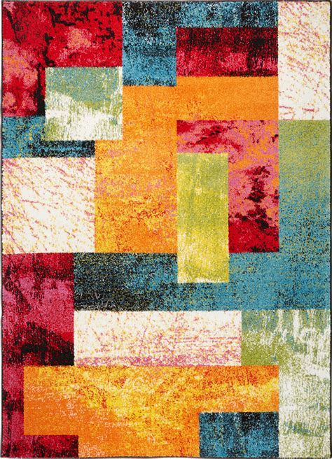 1 X 2 Area Rugs - modern multi color area rug 2x3 abstract blocks carpet