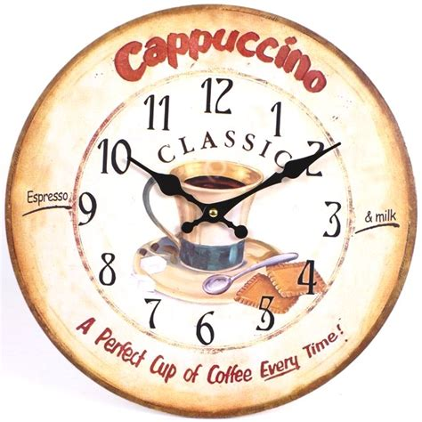Large Kitchen Wall Clocks by Cappuccino 44511 Large Rustic Retro Kitchen Wall Clock 34cm