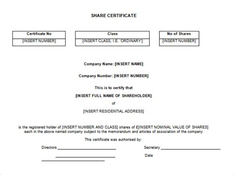 shareholders certificate template stock certificate template 21 free word pdf