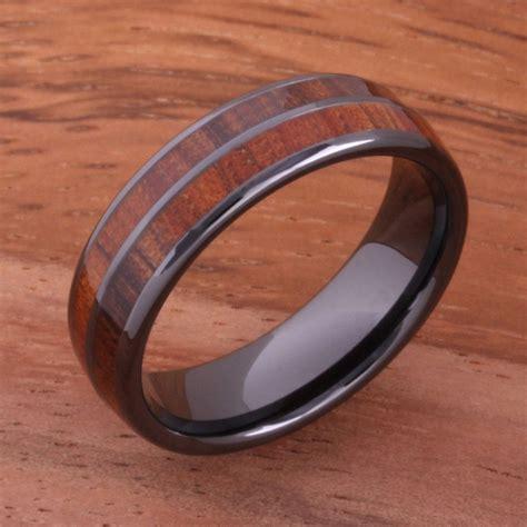 6mm natural hawaiian koa wood inlaid high tech black