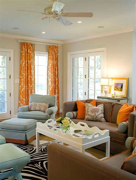 blue and orange room brown living room with orange accents www imgkid com