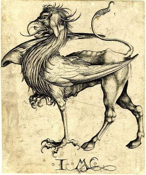 libro medieval monsters martin schongauer the griffin etching 15th century