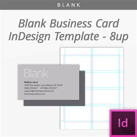 blank indesign business card template 8 up free