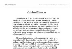 Childhood Memories Essay by Childhood Memories Gcse Drama Marked By Teachers