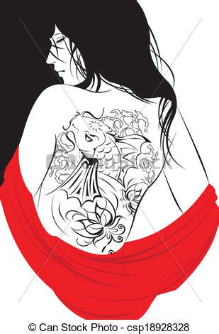 tattoo girl vector vector illustration of girl and tattoo girl with a koi