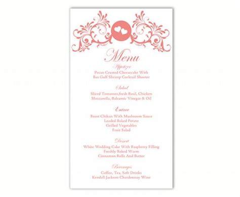 menu card template for word wedding menu template diy menu card template editable text