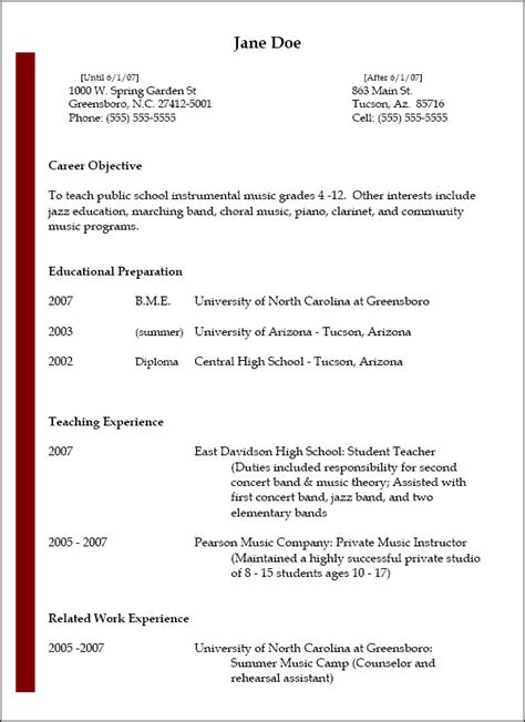 Sample Resume Templates For Highschool Students by Resumes National Association For Music Education Nafme