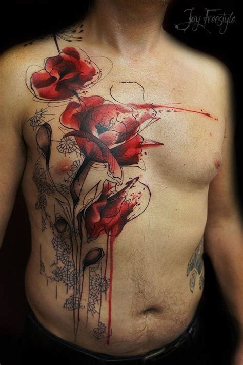 poppy tattoos for men poppy chest http tattooideas247 poppy chest
