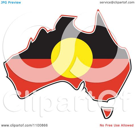 clipart australian aboriginal flag in the shape of the