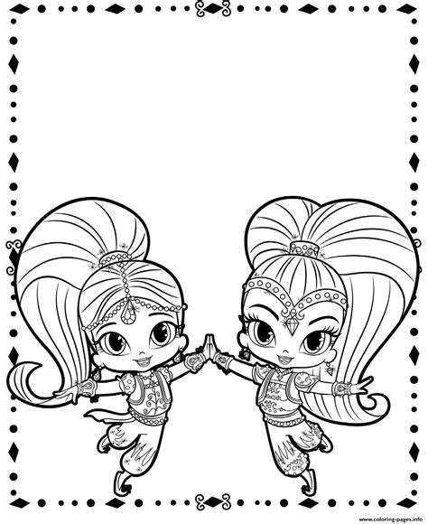 printable coloring pages shimmer and shine shimmer and shine cute genies coloring pages printable