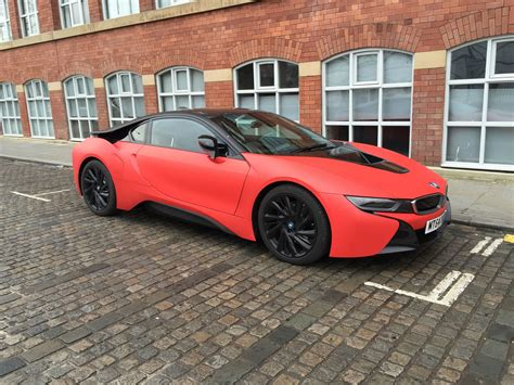 2015 Bmw I8 Wrapped In Matte Red Matte Red Color Front