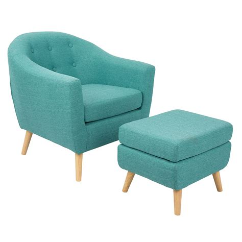 Ottoman Furniture Radbury Teal Modern Chair Ottoman Eurway