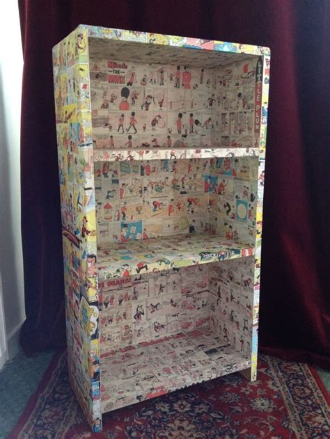Decoupage Bookshelf - decoupage comic bookcase projects