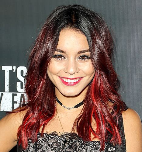 vanessa hudgens dyes her hair red breaking news and vanessa hudgens dyes hair black debuts bangs photo of