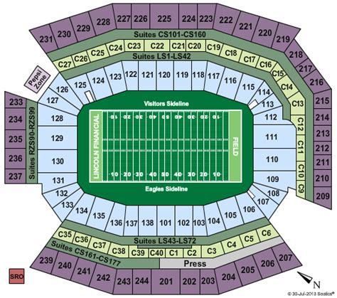 seating capacity of lincoln financial field lincoln financial field tickets and seating chart