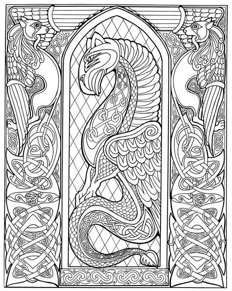 printable coloring pages celtic designs celtic dragon outlinebwsm karen gillmore art