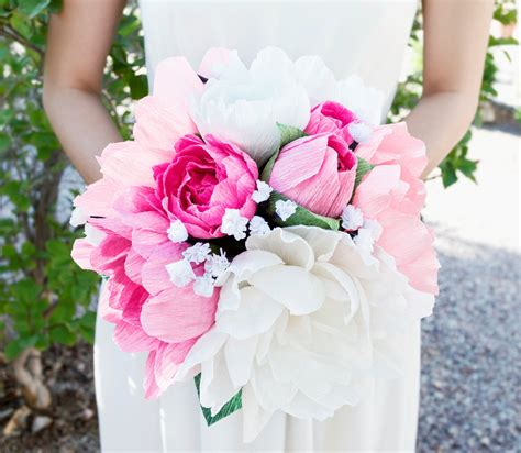 Handmade Flower Bouquet - handmade crepe paper flower bouquet paper flowers wedding
