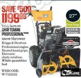 black friday deals on snowblowers craftsman professional 27 in 305cc dual stage snow blower