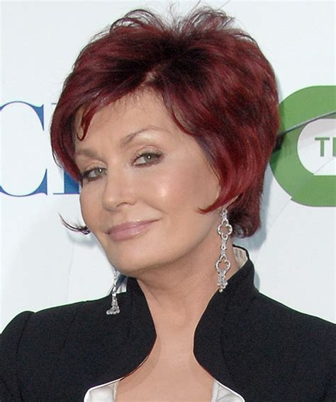back view of sharob osbournes hair sharon osbourne short straight formal hairstyle light red