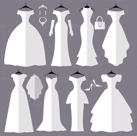 Wedding Dresses Flat Silhouettes Set Illustrations On Creative Market Wedding Silhouette Template