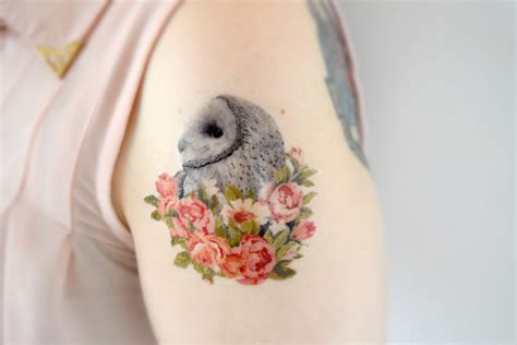 owl tattoo temporary large owl temporary tattoo body art skin colourful by