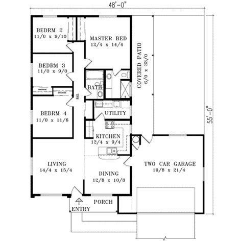 Sunbelt Style House Plans 1400 Square Foot Home 1 1400 Square Foot House Plans Without Garage