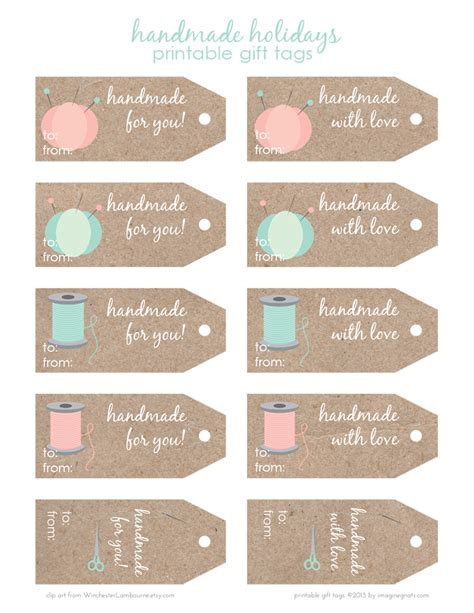 Handcrafted Labels - free printable handmade holidays gift tags imagine gnats