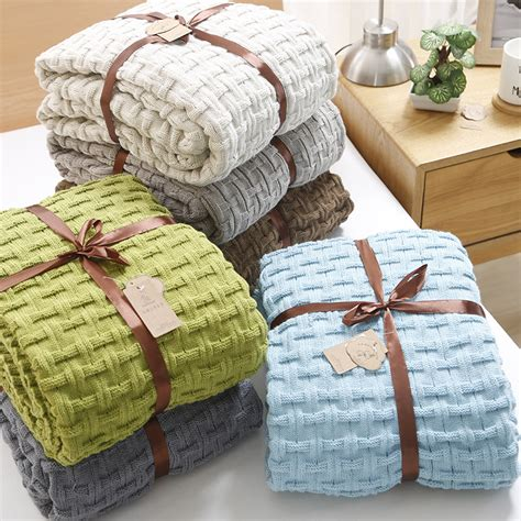 Bedcover Disperse 180 Kalibiru 1 size 120 180cm knitted blanket bed cover blanket soft warm blanket 7 colors weight 1 3