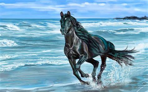 running horse animals beach beauty horse nature sea wave
