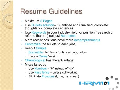 Resume Guidelines Resume Development