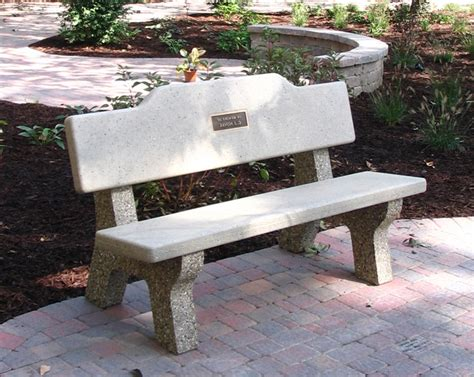 bench memorials all concrete classic memorial bench w plateau back