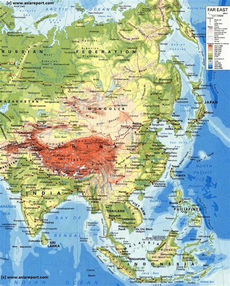 geographical map of asia map of asia relief national capitals cities road