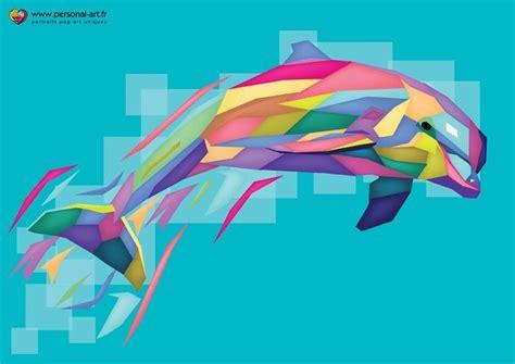 colorful dolphins tableau 16 le dauphin multicolore pop g 233 om 233 trique