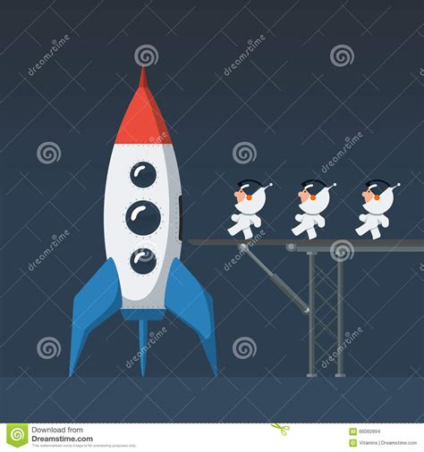 three small funny astronaut on metal bridge loaded into