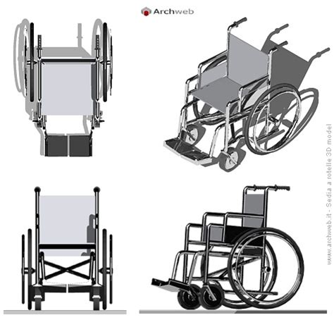 sedia a rotelle 3d wheelchair drawings