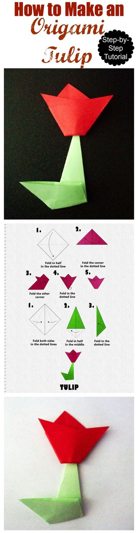 Origami Tulip Step By Step - how to make an origami tulip step by step tutorial