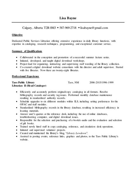 Librarian Resume by Library Resume 2016