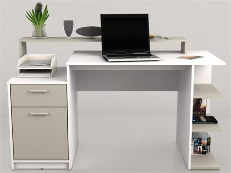 bureau rangement bureau zacharie 1 tiroir 1 porte blanc taupe